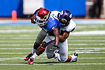 Southern Methodist Mustangs wide receiver Cedric Lancaster (5) in action during the game between the TCU Horned Frogs and the SMU Mustangs at the Gerald J. Ford Stadium in Fort Worth, Texas.  TCU leads SMU 28 to 0 at half.
