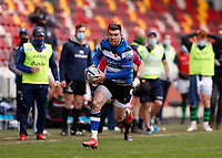 27th March 2021; Brentford Community Stadium, London, England; Gallagher Premiership Rugby, London Irish versus Bath; Ben Spencer of Bath running towards the try line