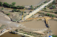 Bridge repair crews, South Platte River, east of Greeley, CO