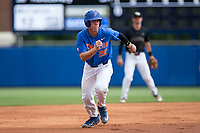 JJ Schwarz (22) of the Florida Gators takes off for third base against the Wake Forest Demon Deacons in Game Three of the Gainesville Super Regional of the 2017 College World Series at Alfred McKethan Stadium at Perry Field on June 12, 2017 in Gainesville, Florida. The Gators defeated the Demon Deacons 3-0 to advance to the College World Series in Omaha, Nebraska. (Brian Westerholt/Four Seam Images)
