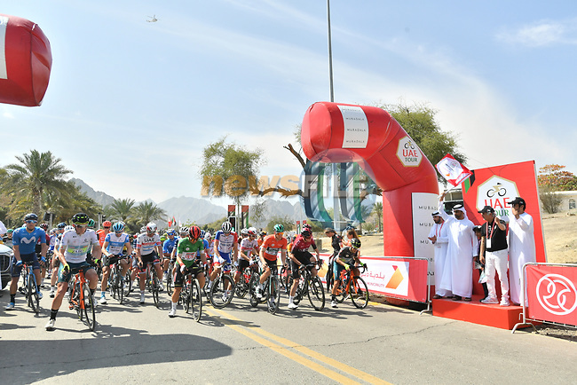 Ready to start Stage 2 the Dubai Municipality Stage of the UAE Tour 2020 running 168km from Hatta to Hatta Dam, Dubai. 24th February 2020.<br /> Picture: LaPresse/Massimo Paolone | Cyclefile<br /> <br /> All photos usage must carry mandatory copyright credit (© Cyclefile | LaPresse/Massimo Paolone)