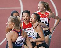 26th August 2021; Lausanne, Switzerland;  Kim Flattich of Switzerland after wining womens 100m hurdles during Diamond League athletics meeting  at La Pontaise Olympic Stadium in Lausanne, Switzerland.