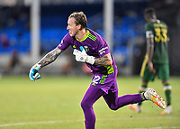 LAKE BUENA VISTA, FL - JULY 18: Steve Clark #12 of the Portland Timbers follows through on his throw during a game between Houston Dynamo and Portland Timbers at ESPN Wide World of Sports on July 18, 2020 in Lake Buena Vista, Florida.