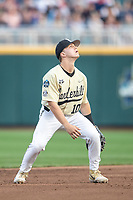 Vanderbilt Commodores shortstop Ethan Paul (10) during Game 12 of the NCAA College World Series against the Louisville Cardinals on June 21, 2019 at TD Ameritrade Park in Omaha, Nebraska. Vanderbilt defeated Louisville 3-2. (Andrew Woolley/Four Seam Images)