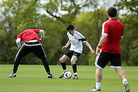 Pictured: Jack Wells. Tuesday 06 May 2014<br /> Re: Members of the local press play football against Swansea City FC coaches and members of staff at the Club's training ground in Fairwood, south Wales.