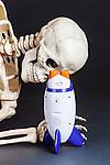 Skeleton Looks for Aliens in rocket radio.