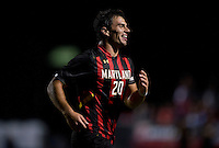 Jake Pace (20) of Maryland celebrates his goal during the game at Ludwig Field on the campus of the University of Maryland in College Park, MD.  Maryland defeated Pittsburgh, 2-0.