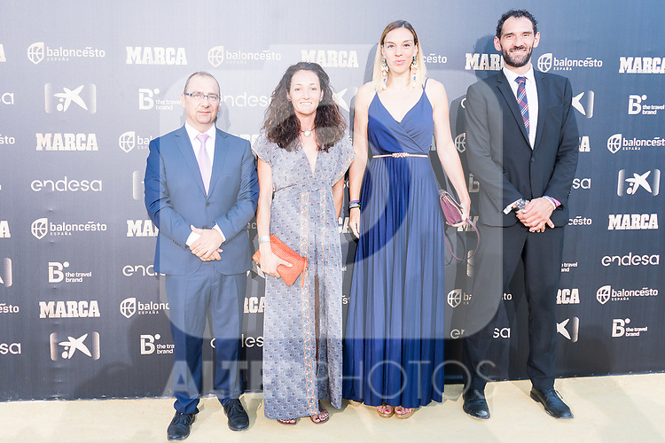 Newspaper Marca Director Juan Ignacio Gallardo (l), Basketball players Laia Palau (l), Lucia Pascua and President of Spanish Federation of Basketball Jorge Garbajosa (r) attends photocall previous to the first edition of Spanish Basketball Awards. July 25, 2019. (ALTERPHOTOS/Francis Gonzalez)