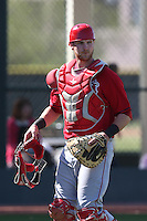 Jett Bandy #98 of the Los Angeles Angels during a Minor League Spring Training Game against the Oakland Athletics at the Los Angeles Angels Spring Training Complex on March 17, 2014 in Tempe, Arizona. (Larry Goren/Four Seam Images)
