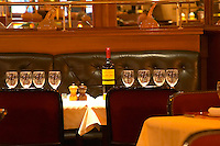Restaurant. Bottle of Chateau Lafon Menaut. Bordeaux city, Aquitaine, Gironde, France