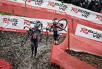 American Champion Katie Compton (USA/KFC Racing p/b Trek/Panache) in action and who'll eventually wil finish 2nd on the podium, behind Dutch Champion Lucinda Brand (NED/Telenet-Baloise Lions)... who's chasing Compton here<br /> <br /> Jaarmarktcross Niel 2019 (BEL)<br /> <br /> ©kramon
