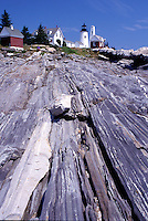 lighthouse, Pemaquid Point, Maine, ME, Bristol, Pemaquid Head Light along the rocky coast of the Atlantic Ocean.