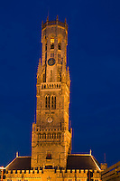 Belgium, Bruges, Belfry tower, night scene