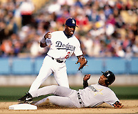 Eric Young of the Los Angeles Dodgers participates in a Major League Baseball game at Dodger Stadium during the 1998 season in Los Angeles, California. (Larry Goren/Four Seam Images)