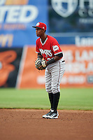 Carolina Mudcats second baseman Erison Mendez (32) during a game against the Frederick Keys on June 4, 2016 at Nymeo Field at Harry Grove Stadium in Frederick, Maryland.  Frederick defeated Carolina 5-4 in eleven innings.  (Mike Janes/Four Seam Images)