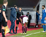 Hearts v St Johnstone…03.02.18…  Tynecastle…  SPFL<br />Referee Andrew Dallas has words with Tommy Wright<br />Picture by Graeme Hart. <br />Copyright Perthshire Picture Agency<br />Tel: 01738 623350  Mobile: 07990 594431