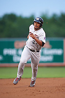 Tri-City ValleyCats first baseman Dexture McCall (27) running the bases during a game against the Aberdeen Ironbirds on August 6, 2015 at Ripken Stadium in Aberdeen, Maryland.  Tri-City defeated Aberdeen 5-0 in a combined no-hitter.  (Mike Janes/Four Seam Images)