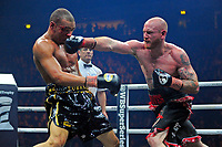 George Groves (black/red shorts) defeats Chris Eubank Jr during a Boxing Show at the Manchester Arena on 17th February 2018
