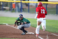 Jamestown Jammers first baseman Jobduan Morales #14 takes a throw as Jeremy Patton #12 hustles to first during a game against the Batavia Muckdogs at Dwyer Stadium on June 27, 2011 in Batavia, New York.  Batavia defeated Jamestown 4-3.  (Mike Janes/Four Seam Images)