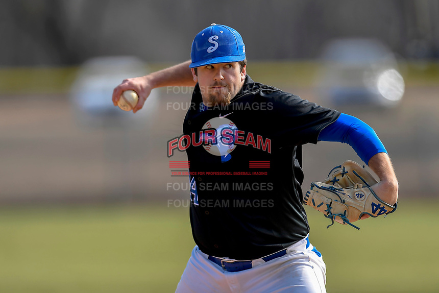 Pitcher John Sendziak (24) of the Spartanburg Methodist College Pioneers delivers a pitch during Game 1 of a junior college season-opening doubleheader against the Patrick Henry Patriots on February 3, 2018, at Mooneyham Field in Spartanburg, South Carolina. (Tom Priddy/Four Seam Images)