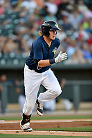 Designated hitter Dash Winningham (34) of the Columbia Fireflies runs toward first in a game against the West Virginia Power on Friday, May 19, 2017, at Spirit Communications Park in Columbia, South Carolina. West Virginia won, 3-1. (Tom Priddy/Four Seam Images)