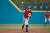San Diego State Aztecs relief pitcher Casey O'Sullivan (13) delivers a pitch to the plate against the UNCG Spartans at Springs Brooks Stadium on February 16, 2020 in Conway, South Carolina. The Spartans defeated the Aztecs 11-4.  (Brian Westerholt/Four Seam Images)