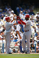 Ryan Freel and Ken Griffey jr of the Cincinnati Reds during a game against the Los Angeles Dodgers in a 2007 MLB season game at Dodger Stadium in Los Angeles, California. (Larry Goren/Four Seam Images)