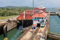 Panama Canal, Panama.  Container Ship about to Move from Second Gatun Lock to Third en Route to Lake Gatun.
