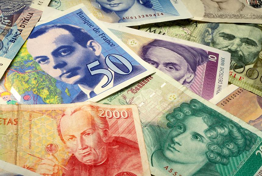 European Currencies. close up money, business, finance, international.