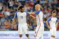 Kansas City, KS. - May 28, 2016:  Michael Bradley hands the captains arm band over to Jermaine Jones.The U.S. Men's national team defeated Bolivia 4-0 in an international friendly tuneup match prior to the opening of the 2016 Copa America Centenario at Children's Mercy Park.