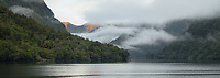 Moody dawn in Crooked Arm of Doubtful Sound, Fiordland National Park, Southland, UNESCO World Heritage Area, New Zeland, NZ