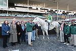 2011 04 02: Favorite Inherit the Gold, NY-bred, and Eddie Castro, in the winners circle after winning the Grade 3 Excelsior Stakes, for 3-year old & up at 1 1/8 mile, Aqueduct Racetrack, Jamaica, NY. Trainer James Hooper. Owner James Hooper and Glas-Tipp Stable, LLC