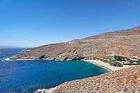 Sykamia has nice sandy beach and crystal clear waters in Kea, Greece