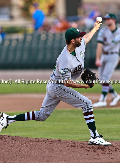 Gary Southshore Railcats Pitcher Carlos Rivas (48) in action during the American Association of Independant Professional Baseball game between the Gary Southshore Railcats and the Fort Worth Cats at the historic LaGrave Baseball Field in Fort Worth, Tx. Gary Southshore defeats Fort Worth 7 to 3.