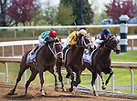 LEXINGTON, KY - APRIL 09: Rachel's Valentina, Cathryn Sophia and Carina Mia are in front in the turn for home in the Central Bank Ashland Stakes at Keeneland on April 9, 2016 in Lexington, Kentucky. (Photo by Samantha Bussanich/Eclipse Sportswire/Getty Images)