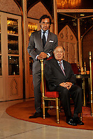 Dr Hari Harilela, 87, poses with son and heir apparent Dr Aron Harilela, 37,  in the Mogal room of their Kowloon Tong residence in Hong Kong 18th October 2009. Hari is the director of the Harilela group.  The Harilela's are one of Hong Kong'sand Asia's best known and and most successful family businesses.<br /> <br /> Photo by Richard Jones