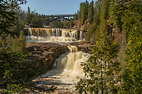 """""""Middle and Lower Gooseberry Falls""""<br /> The Gooseberry River was flowing with vigor following several inches of rainfall. The Middle and Lower Falls were thundering as the river made its way to Lake Superior."""