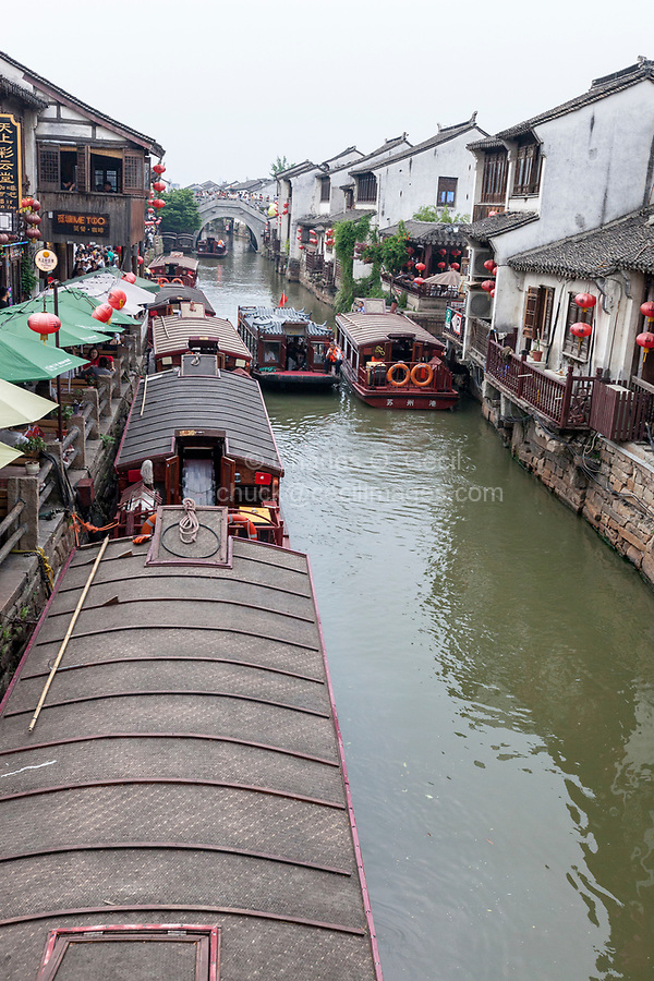 Suzhou, Jiangsu, China.  Pleasure Boats Line Shantang Canal, a Popular Tourist Destination.