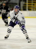 30 December 2007: Holy Cross Crusaders' forward Dale Reinhardt, a Senior from Livingston, NJ, in action against the Western Michigan University Broncos at Gutterson Fieldhouse in Burlington, Vermont. The teams skated to a 1-1 tie, however the Broncos took the consolation game in a 2-0 shootout to win the third game of the Sheraton/TD Banknorth Catamount Cup Tournament...Mandatory Photo Credit: Ed Wolfstein Photo