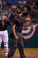 Home plate umpire Gabriel Alfonzo during a California League game between the Visalia Rawhide and San Jose Giants on April 12, 2019 at San Jose Municipal Stadium in San Jose, California. Visalia defeated San Jose 6-2. (Zachary Lucy/Four Seam Images)