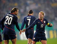 Abby Wambach (20) Shannon Boxx (7) and Lori Chalupny (17). US Women's National Team defeated Germany 1-0 at Impuls Arena in Augsburg, Germany on October 27, 2009.