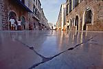 Croatia, Dubrovnik, The Stradun, Marble street worn to a reflective sheen, old town, UNESCO World Heritage Site, Dalmatian Coast, Adriatic Sea, Europe,.