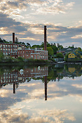 Squamscott River in downtown Exeter, New Hampshire USA on a cloudy morning.