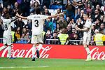 Real Madrid Vinicius Jr, Jesus Vallejo and Javi Sanchez celebrating a goal during King's Cup match between Real Madrid and U.D. Melilla at Santiago Bernabeu Stadium in Madrid, Spain. December 06, 2018. (ALTERPHOTOS/Borja B.Hojas)