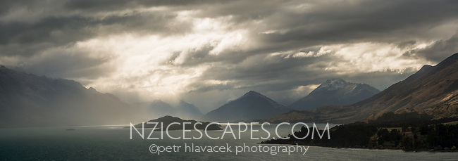 Windy and stormy weather over Lake Wakatipu, Central Otago, South Island, New Zealand, NZ