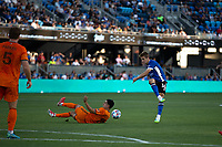 SAN JOSE, CA - JULY 24: Jack Skahan #16 during a game between Houston Dynamo and San Jose Earthquakes at PayPal Stadium on July 24, 2021 in San Jose, California.