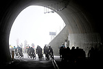 The peleton exit the tunnel at the summit of the Passo del Turchino during the 109th edition of Milan-Sanremo 2018 running 294km from Milan to Sanremo, Italy. 17th March 2018.<br /> Picture: LaPresse/Fabio Ferrari | Cyclefile<br /> <br /> <br /> All photos usage must carry mandatory copyright credit (© Cyclefile | LaPresse/Fabio Ferrari)