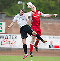 Stirling's Chris Smith heads clear from Clyde's Michael Daly.