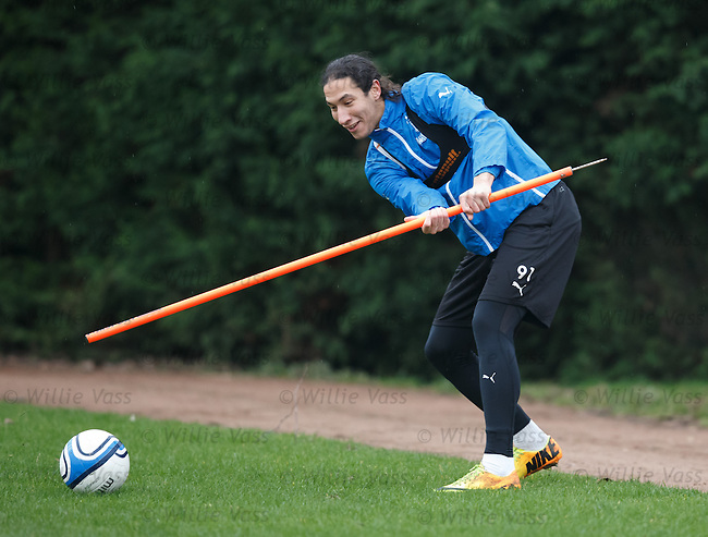 Bilel Mohsni happy after he invents a new game of football golf at training today