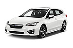 2018 Subaru Impreza Premium 5 Door Hatchback Angular Front stock photos of front three quarter view